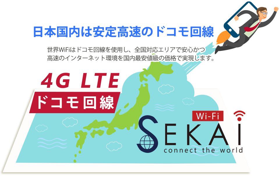 日本国内は安定高速のドコモ回線 docomo